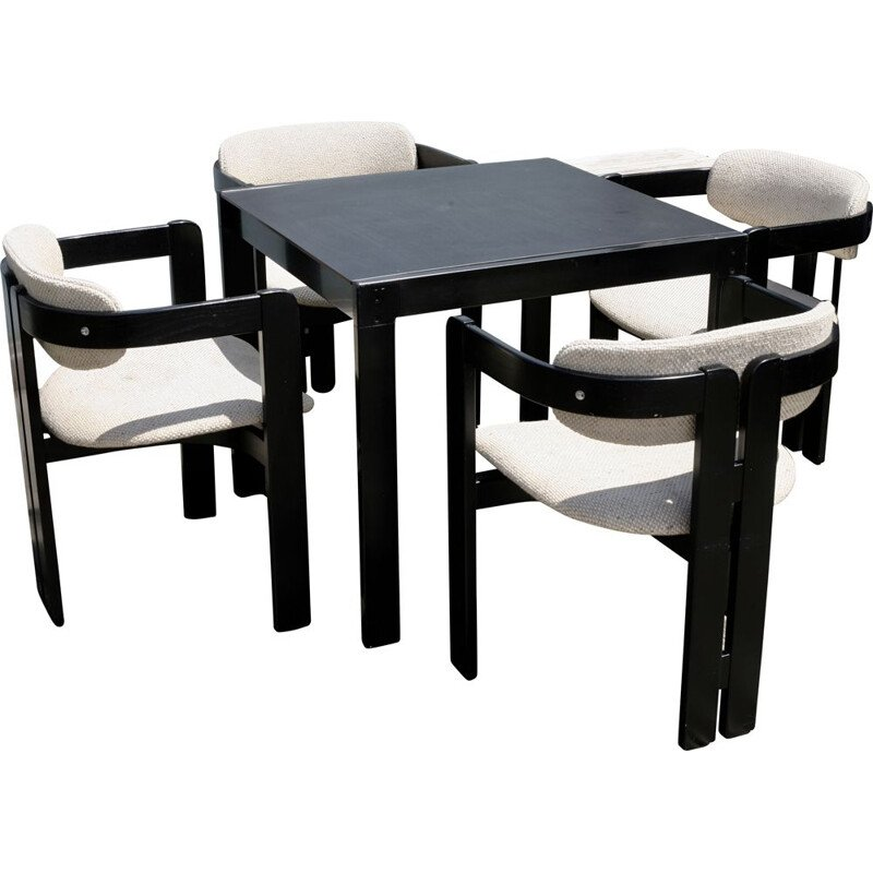 Pigreco vintage dining set for Gavina in beige wool and wood 1970
