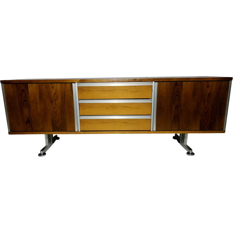 Vintage sideboard for EFA in rosewood and aluminium 1970