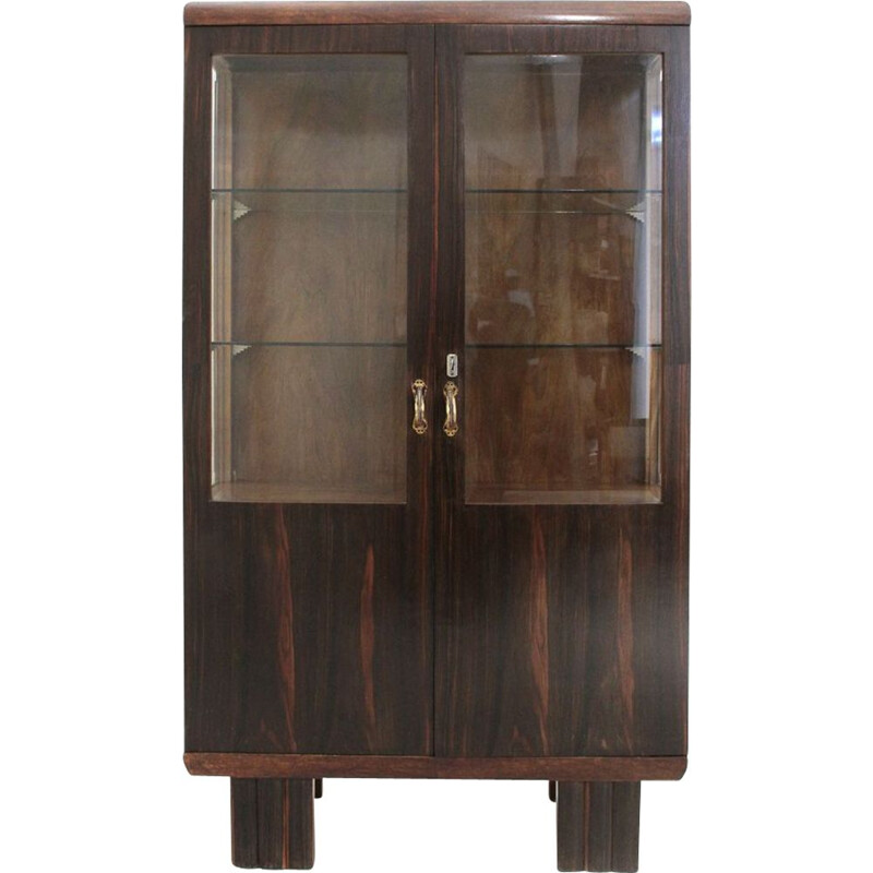 Vintage italian showcase in wood and glass 1930