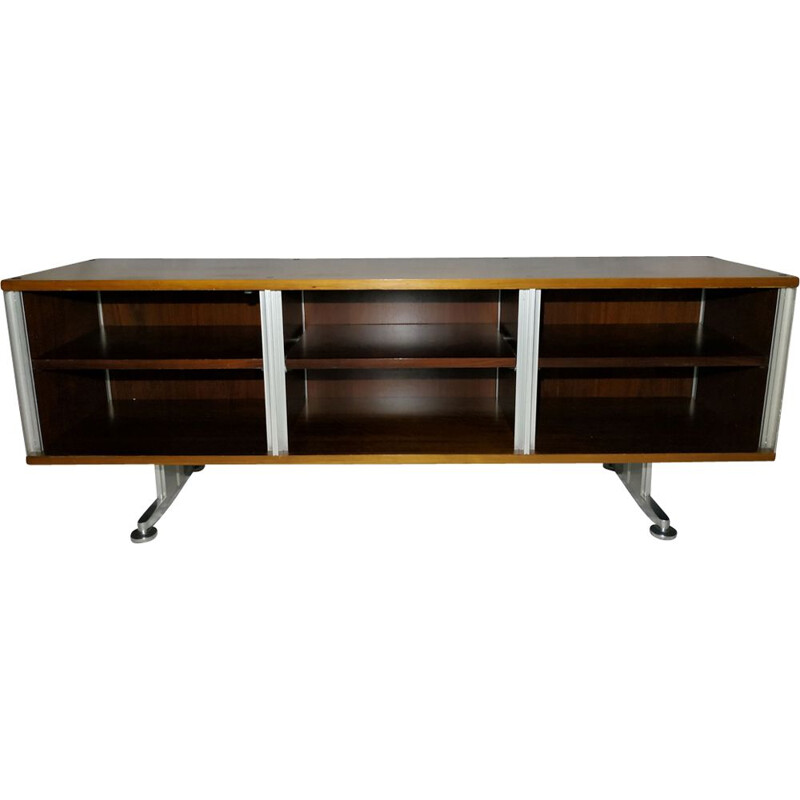 Vintage low highboard for EFA in rosewood and aluminium 1970