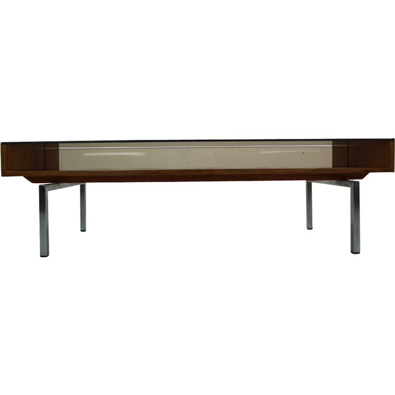 Vintage coffee table in smoked glass and rosewood 1970