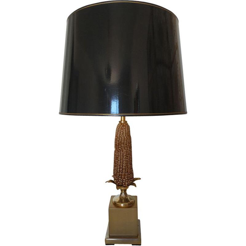Vintage gold metal black lamp 1970