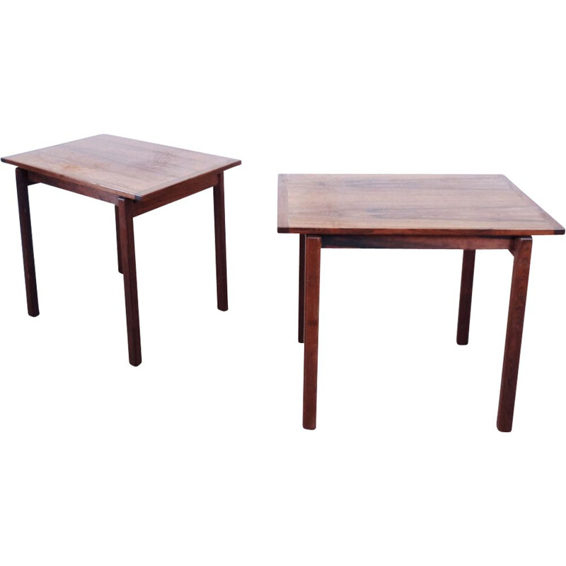 Pair of vintage scandinavian side tables in rosewood 1960
