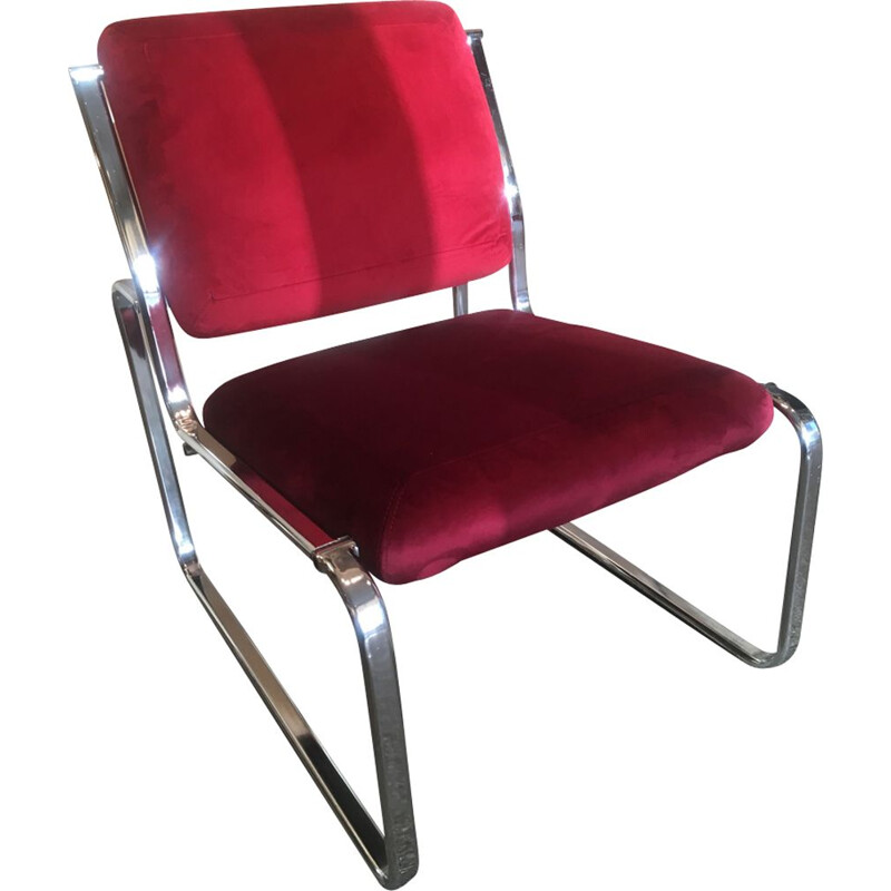 Vintage red velvet armchair without arm 1970