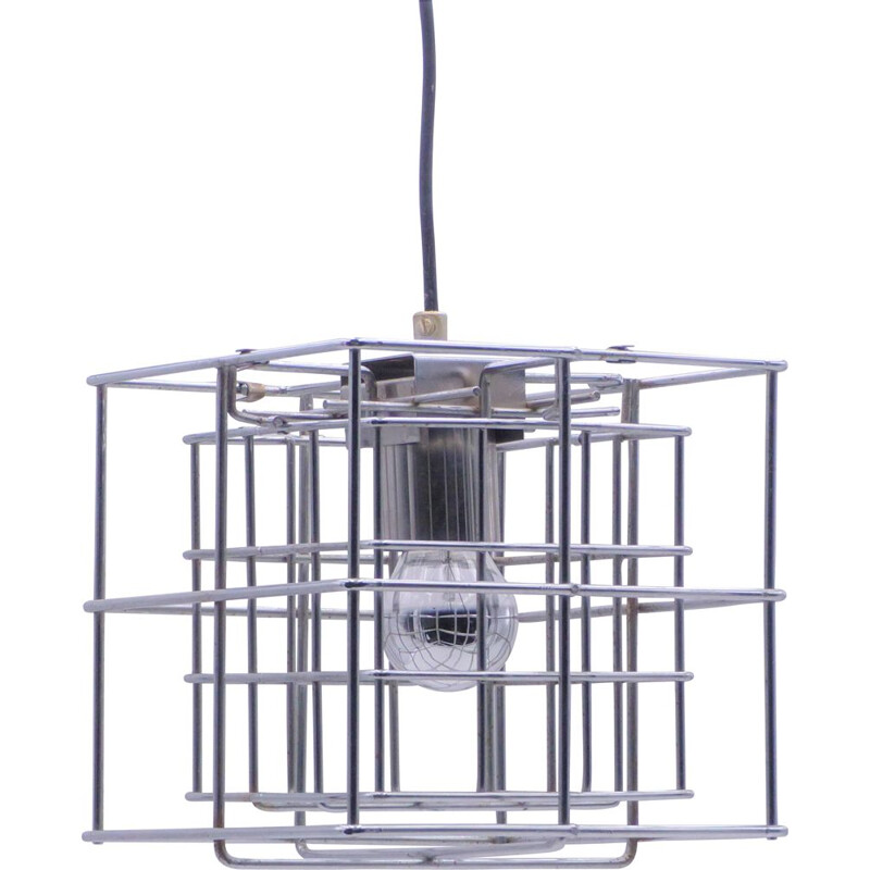 Vintage hanging lamp space age chrome cube 1970