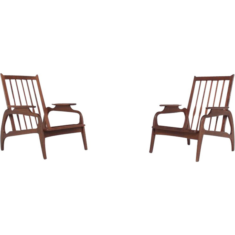 Pair of vintage armchairs in rosewood Scandinavian 60s