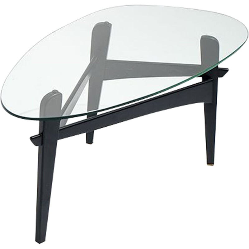 Vintage Osaka coffee table by Veranneman in wood and glass 1950