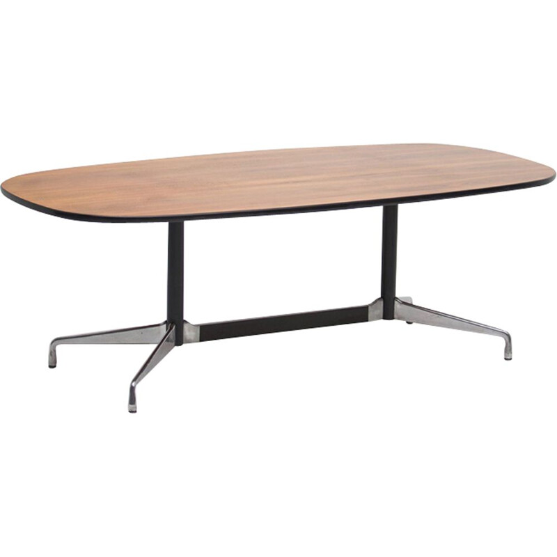 Vintage Segmented table by Eames for Miller in walnut and aluminium