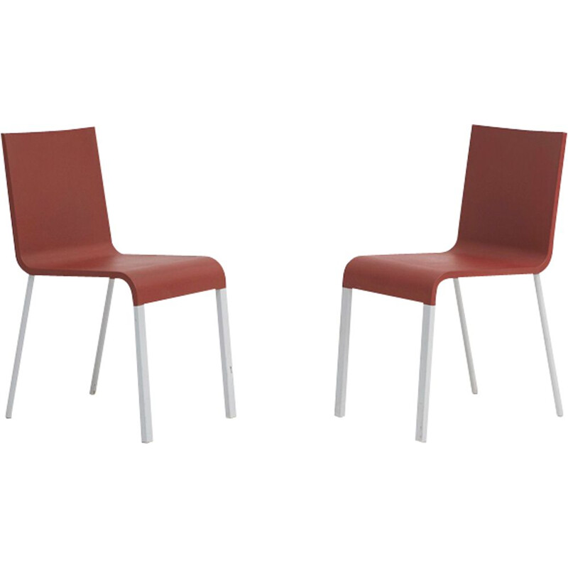Pair of vintage .03 chairs in red polyurethane and metal 1990