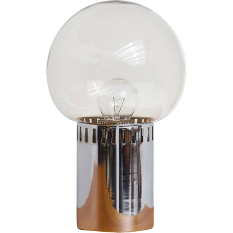 Vintage chrome smoked glass lamp 1970