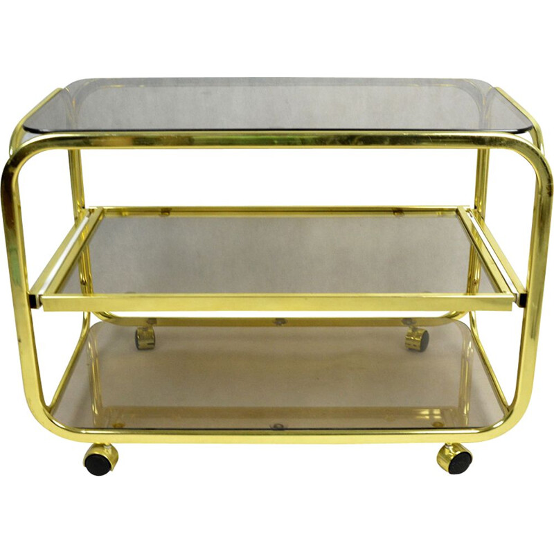 Vintage bar cart for Huwa-Spiegel Parsol in brass and glass 1970
