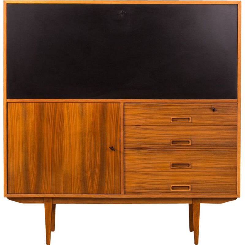 Vintage secretary desk in walnut and black formica 1950s
