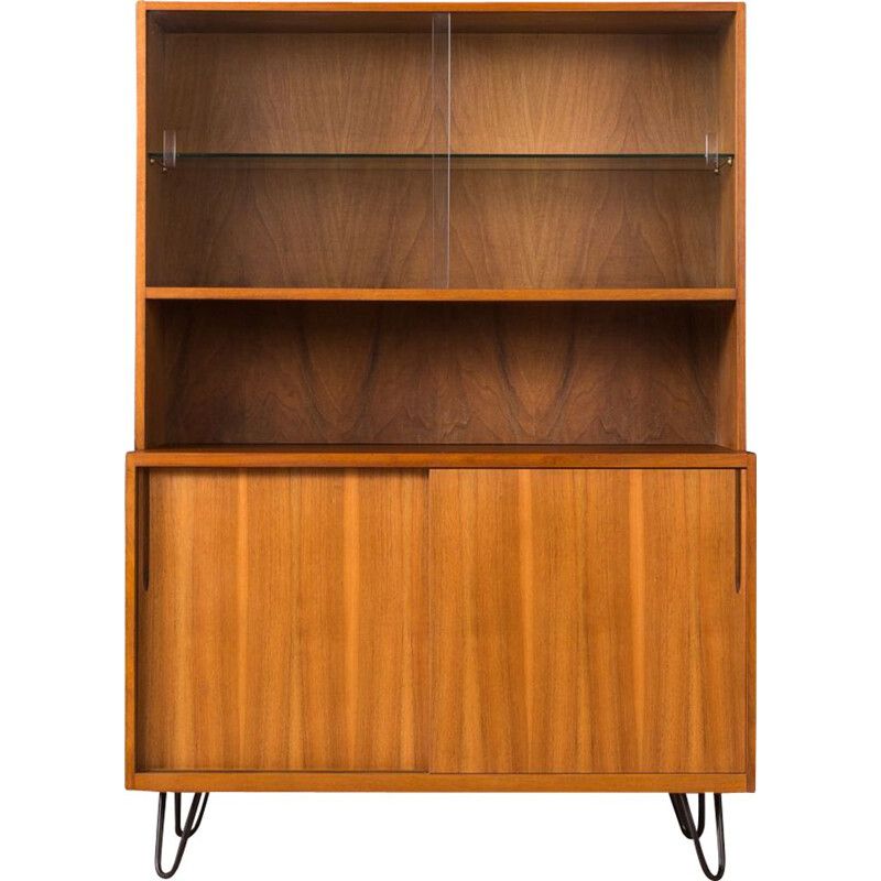 Vintage showcase for VEB in walnut and glass 1950