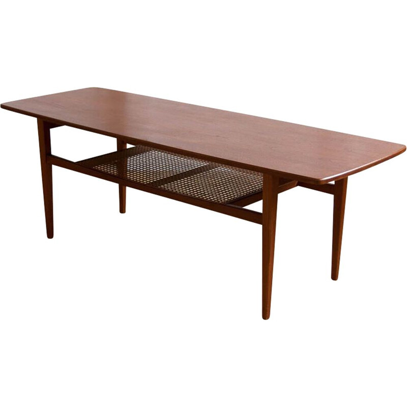 Vintage scandinavian teak and cannage coffee table 1960