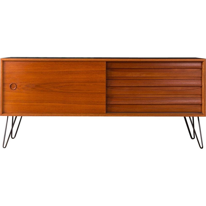 Vintage scandinavian sideboard in teakwood and black formica 1960