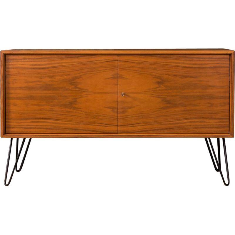 Vintage german sideboard in walnut and black steel 1950