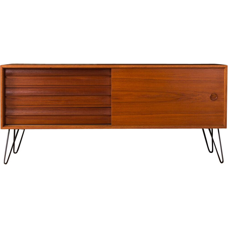 Vintage german sideboard in black steel and teakwood 1960