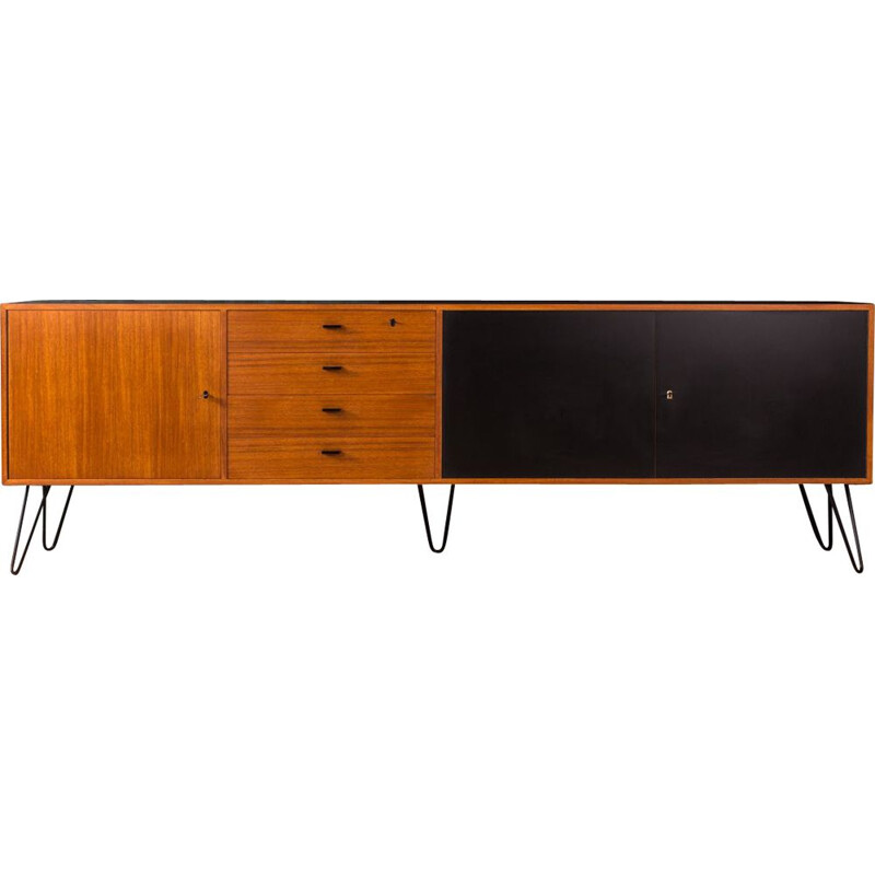 Vintage german sideboard in teakwood and black formica 1950
