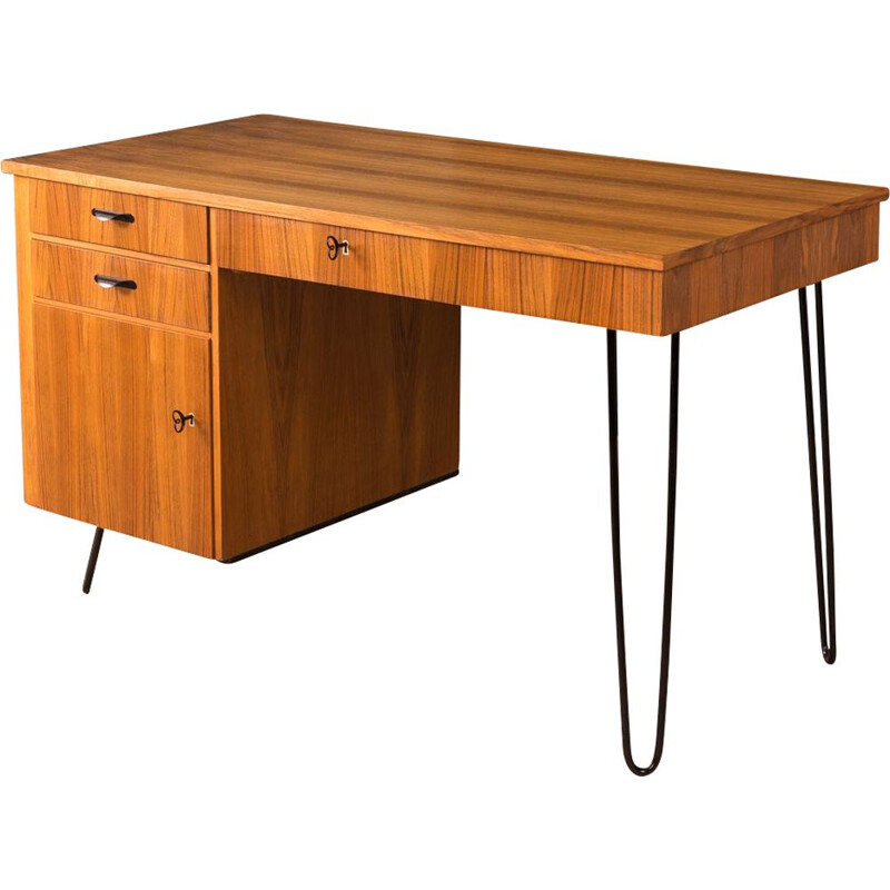 Vintage desk for Lübke in walnut 1950