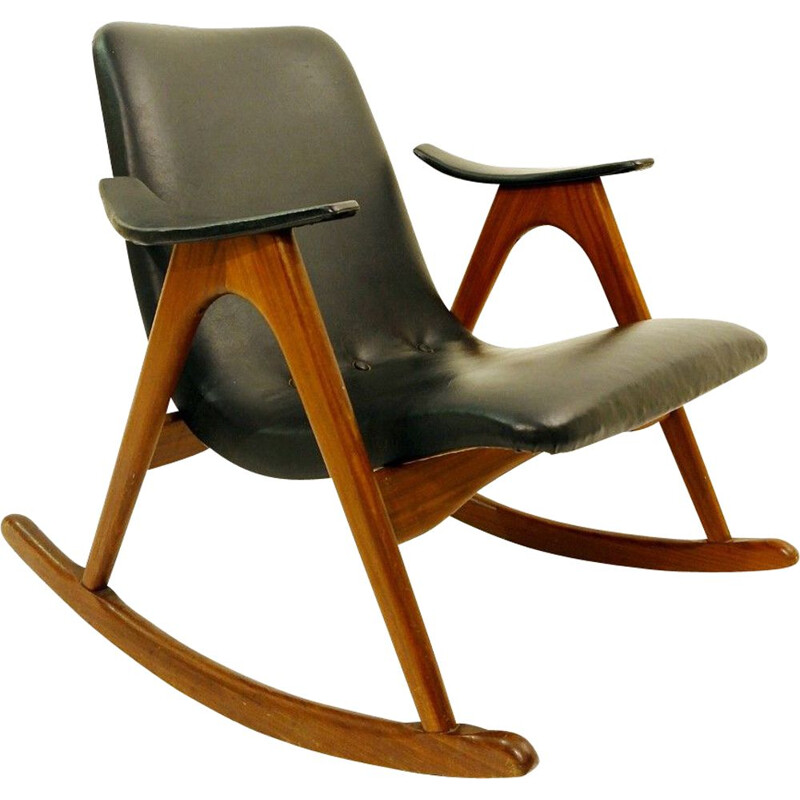 Vintage rocking chair by Louis Van Teeffelen for Webe 1960s