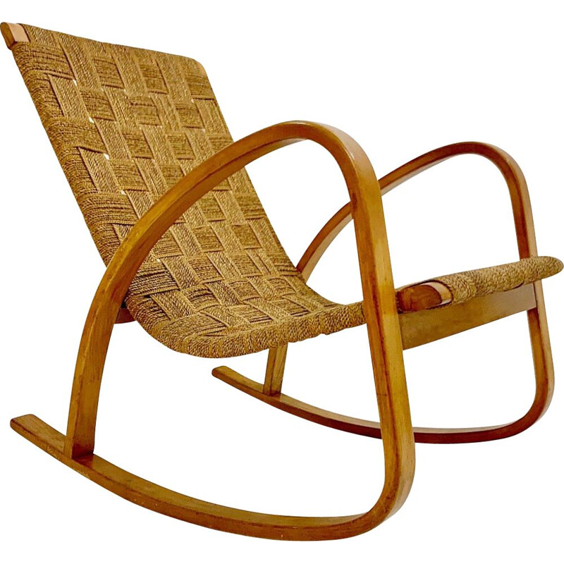 Vintage rocking chair in rope 1960s