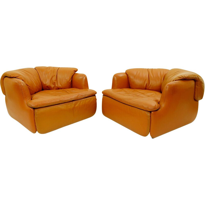 Pair of vintage armchairs by Alberto Rosselli for Saporiti 1970s