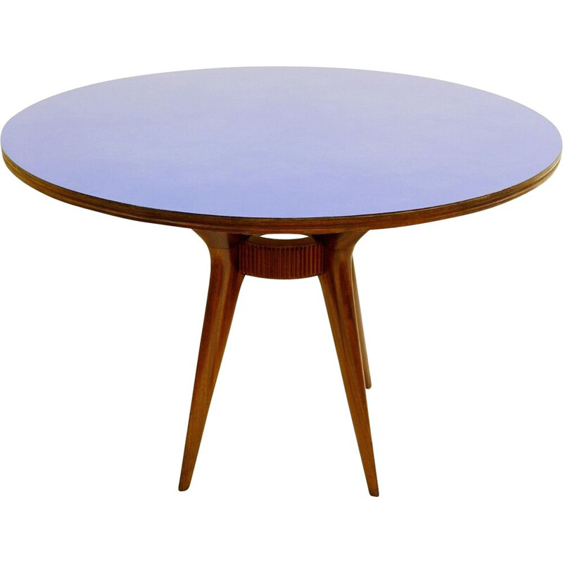 Vintage dining table round with blue formica top Italy 1950s