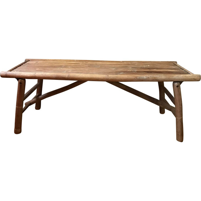 Vintage bench in bamboo foldable France 1950s