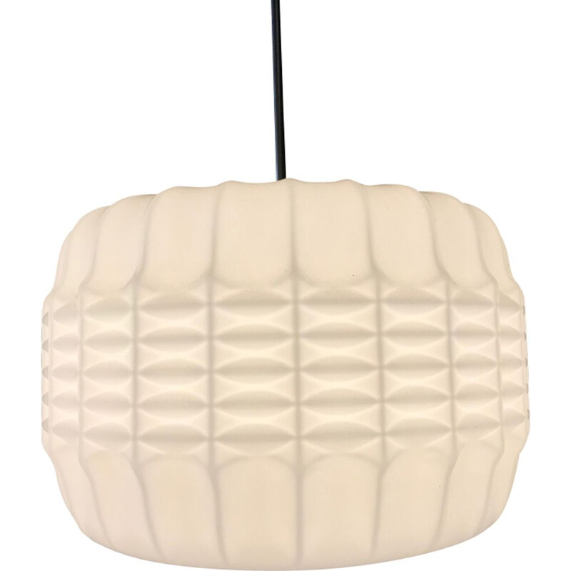 Vintage hanging lamp in opaline origami 1950s
