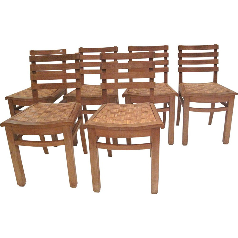 Set of 6 vintage chairs in oak and cane France 1940