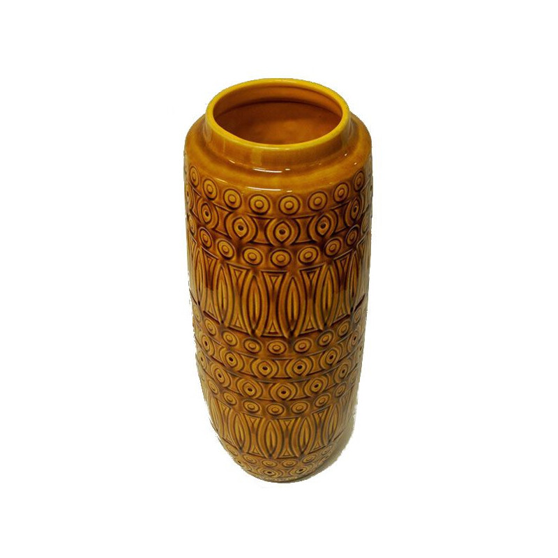 Vintage Inka Vase by Scheurich Keramik in yellow ceramics 1960