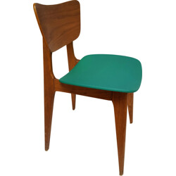 Vintage chair in wood and pvc, Roger LANDAULT - 1950s