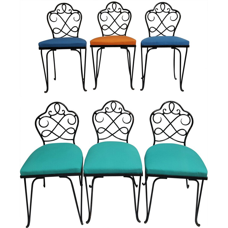 Set of 6 chairs in wrought iron, René PROU - 1930s