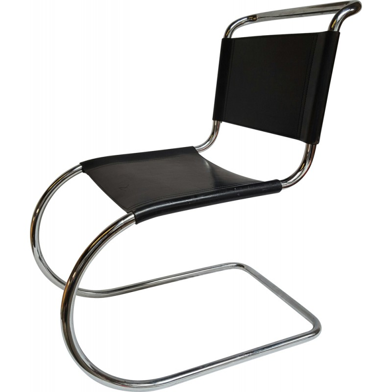 Mies Van Der Rohe Design.Chair In Chrome And Leather Ludwig Mies Van Der Rohe 1950s