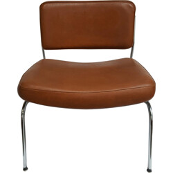 Vintage low chair in metal and brown leatherette - 1960s