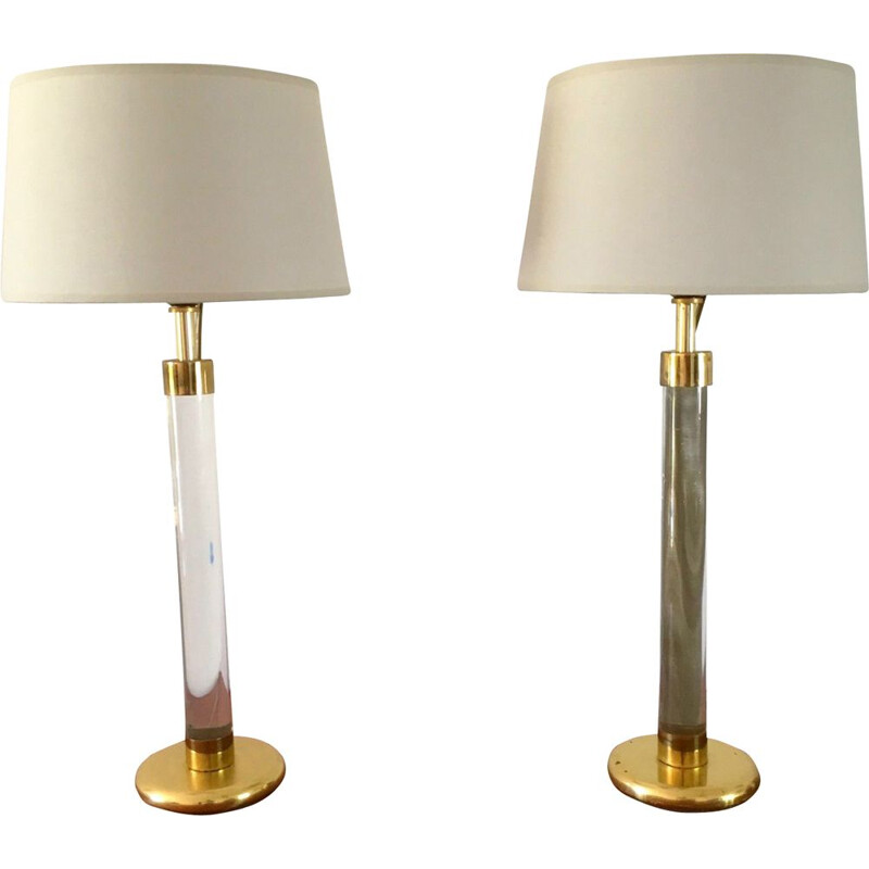 Pair of vintage lamps in plexiglas 1970s