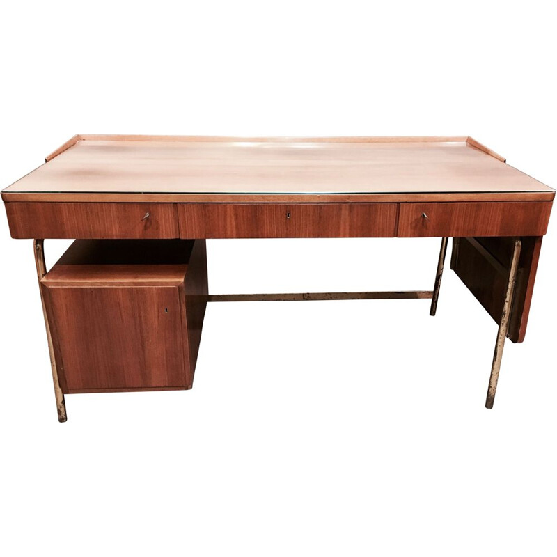 Vintage desk in rosewood and brass Scandinavian 1950