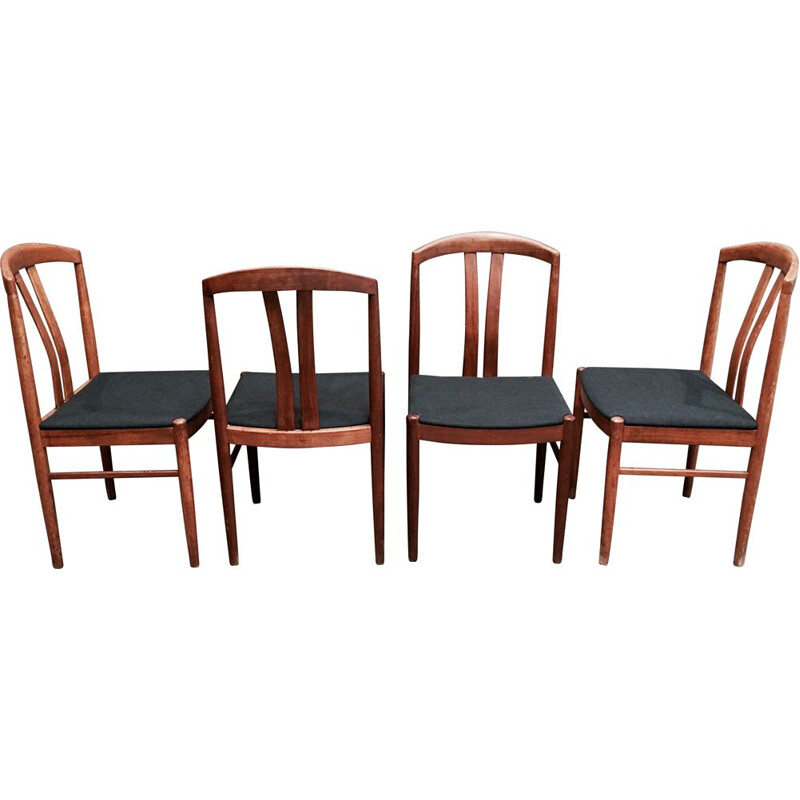 Set of 4 vintage grey chairs for Jahansson Sweden in teak 1950
