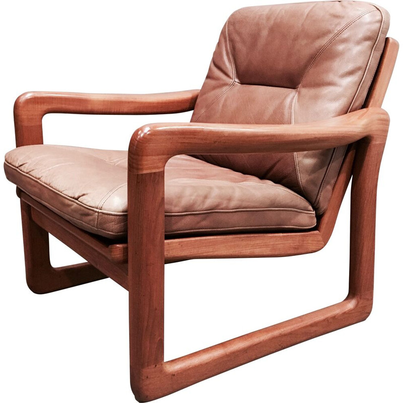 Scandinavian vintage armchair in teak and brown leather 1960