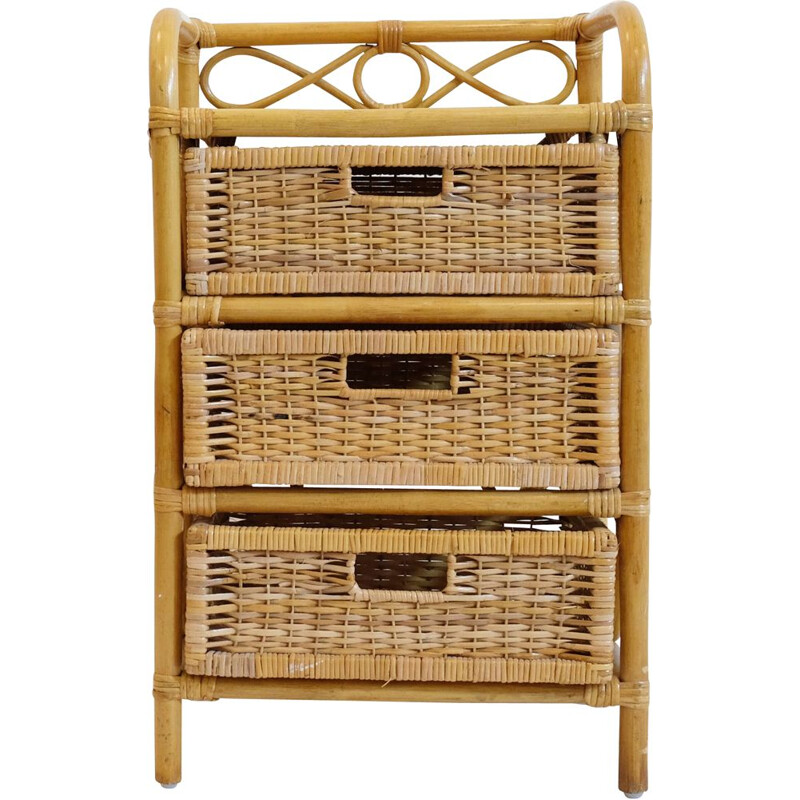 Vintage french bedside table in rattan and wicker 1970
