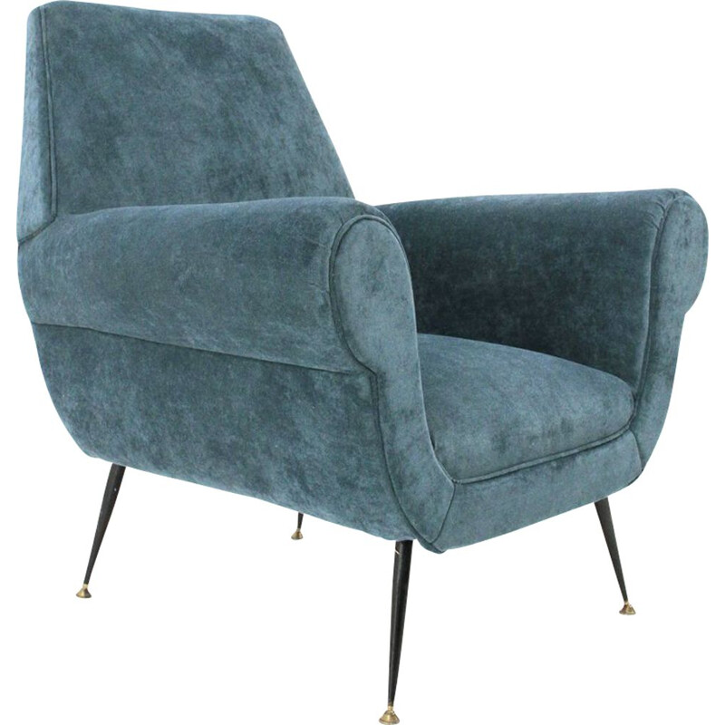 Vintage armchair in velvet by Gigi Radice for Minotti Italy 1950s