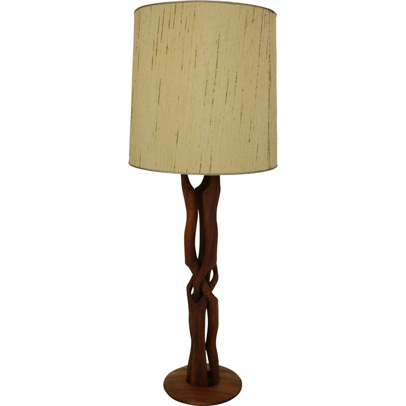 Vintage table lamp organic form in teak Denmark 1960