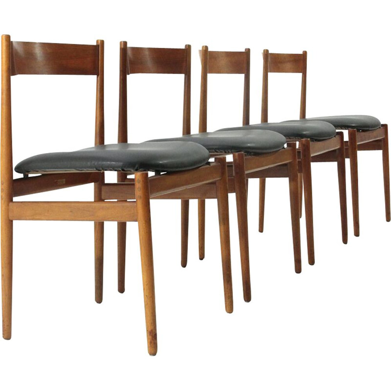 Set of 4 vintage dining chairs 101 by Gianfranco Frattini for Cassina, 1950s