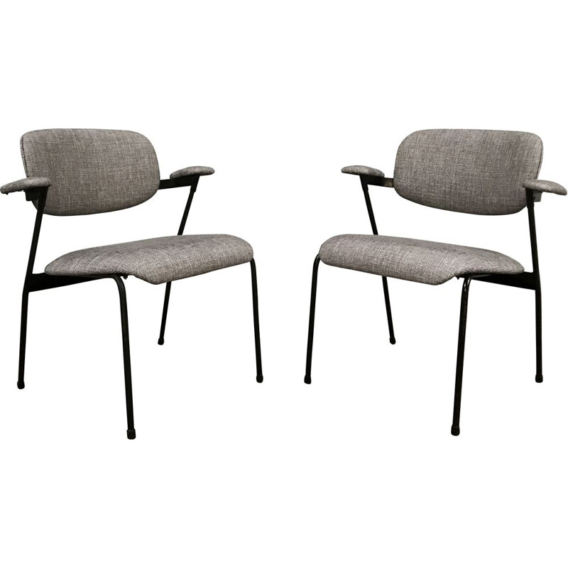 Pair of vintage armchairs grey by Willy Van Der Meeren for Tubax 1950s