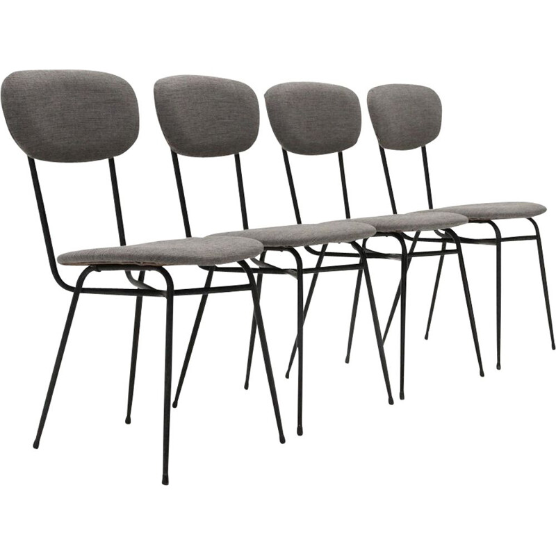 Set of 4 vintage dining chairs black metal and grey fabric 1950s
