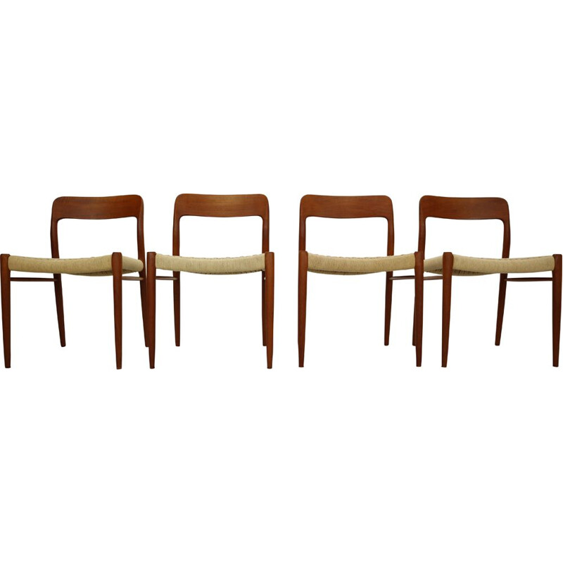 Set of 4 vintage Dining Chairs by Niels Otto Møller, Model 75, Denmark