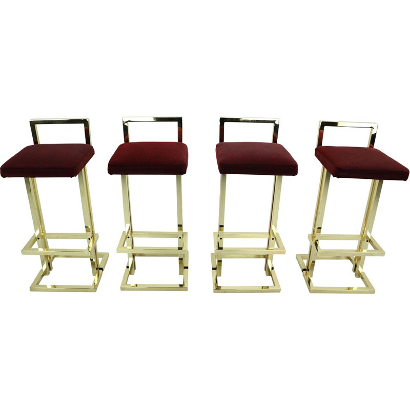 Set of 4 vintage stools for Maison Jansen in brass and red fabric 1970