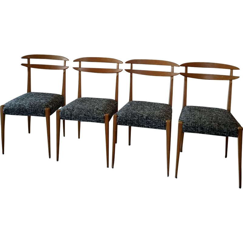 Set of 4 vintage scandinavian chairs in black and white fabric 1960