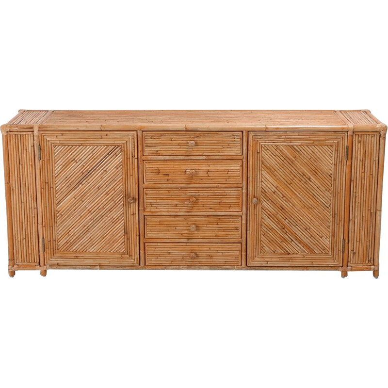 French vintage sideboard in bamboo 1970
