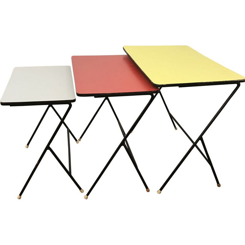 Set of vintage dutch nesting tables for Artimeta in formica 1950